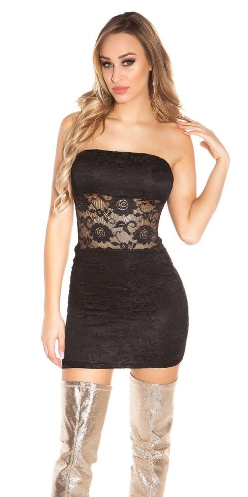Čierne čipkované šaty - S/M Koucla in-sat1729bl