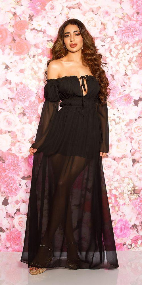 Dlouhé černé šaty Koucla in-sat2170bl
