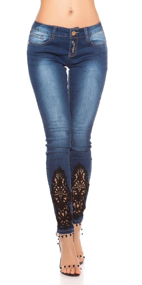 Dámske džínsy s čipkou Koucla in-ri1474
