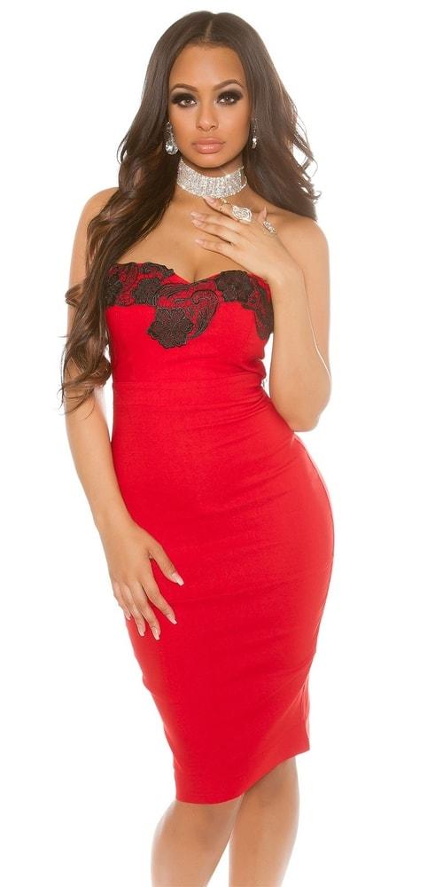 Puzdrové šaty červené Koucla in-sat1221re