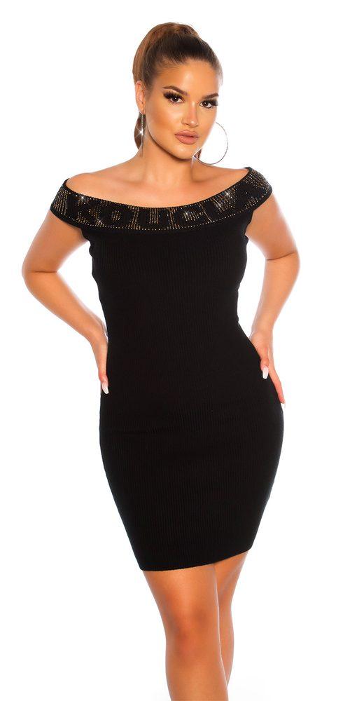 Černé úpletové mini šaty Koucla in-sat1981bl