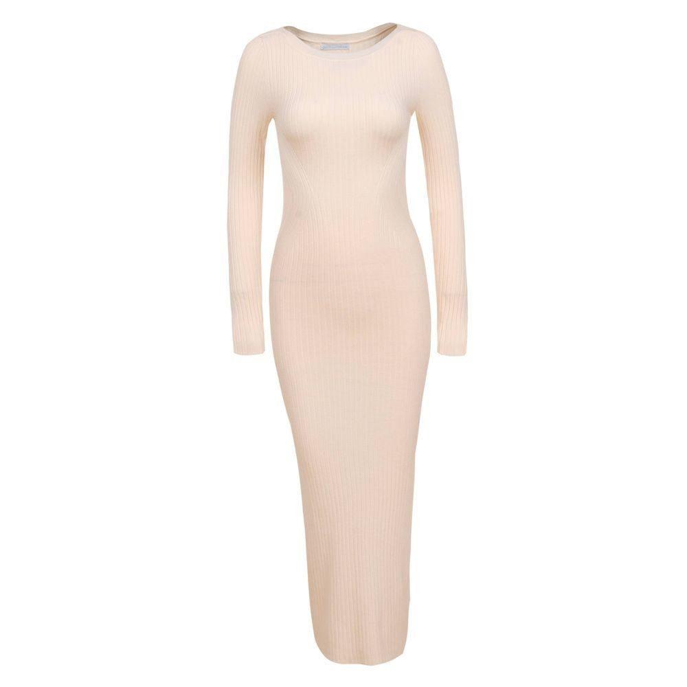 Krémové úpletové šaty - S/M EU shd-sat1254cr