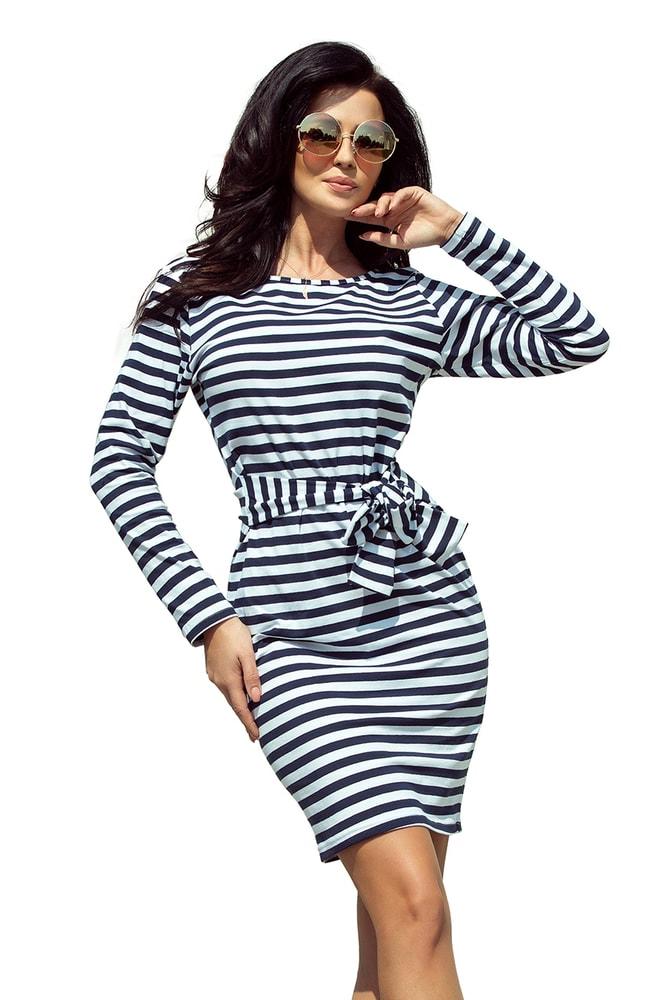Pruhované dámske šaty Numoco nm-sat209-1