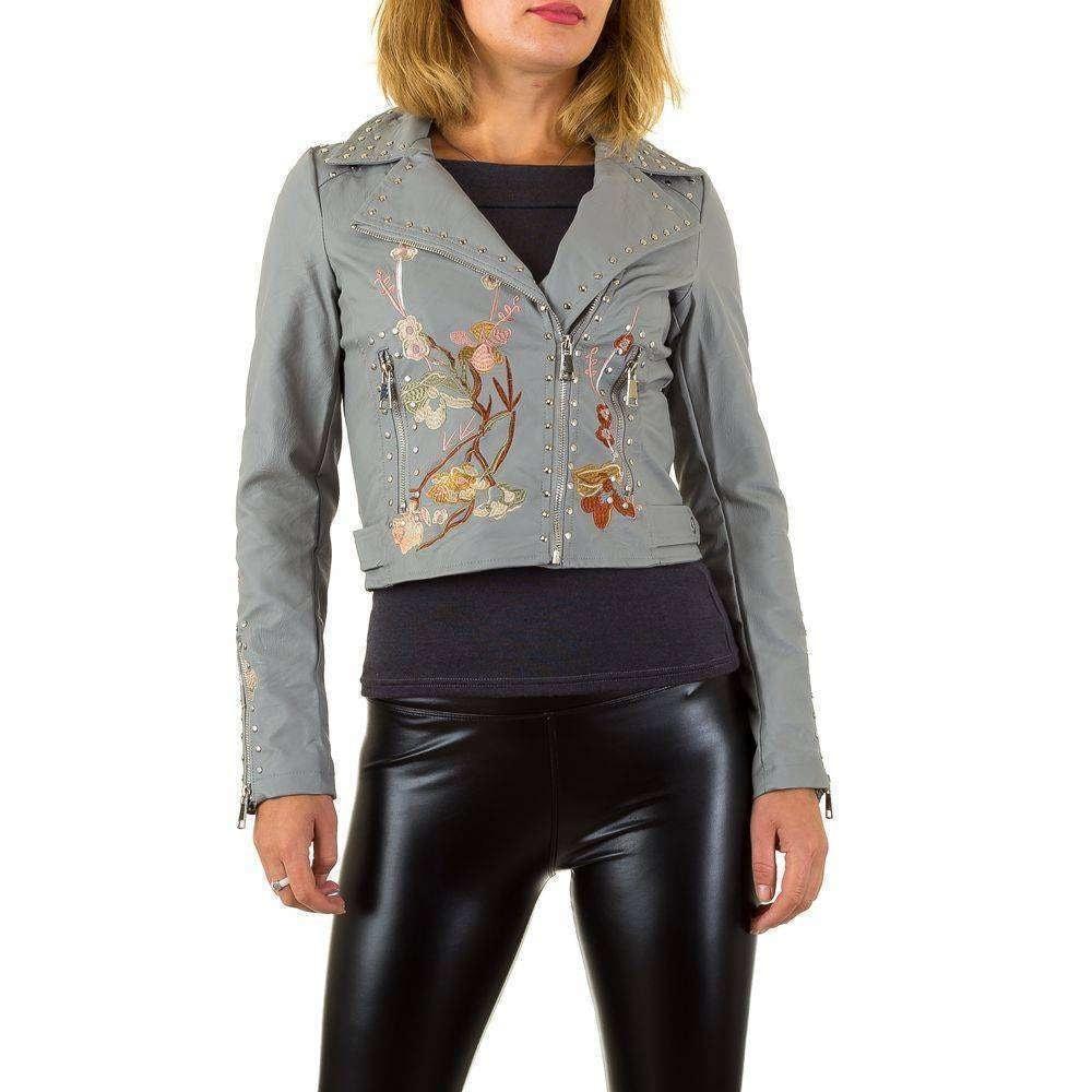 Koženková bunda s výšivkou - 36 EU shd-bu1029gr
