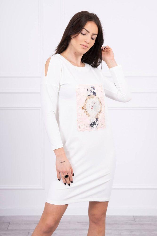 Volnočasové šaty s 3D motivem - S/M Kesi ks-sa66816cr
