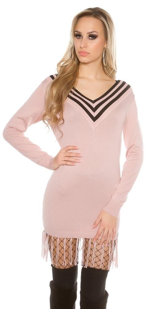 Dámske pletené šaty-ružové Koucla in-sv1440spi