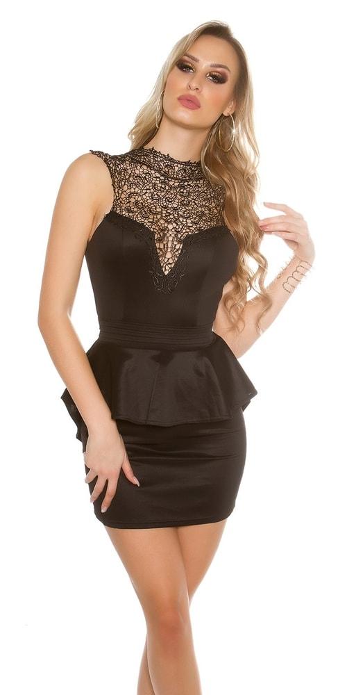 Krátke čierne čipkované šaty Koucla in-sat1432bl