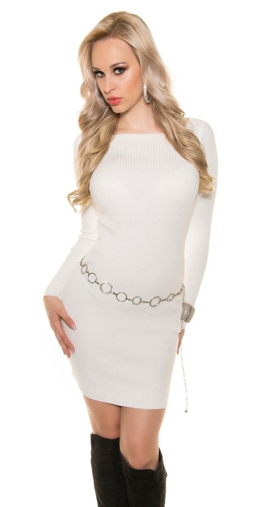 Úpletové dámske šaty Koucla in-sv1352wh