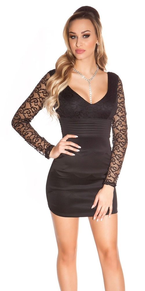Čierne šaty s čipkou - 36 Koucla in-sat1277bl