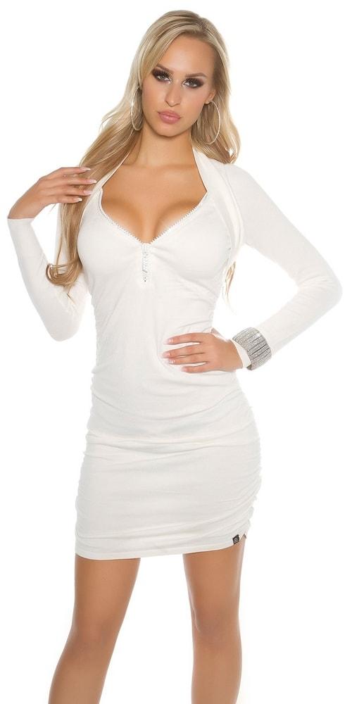 Elegantné úpletové šaty Koucla in-sat1378wh