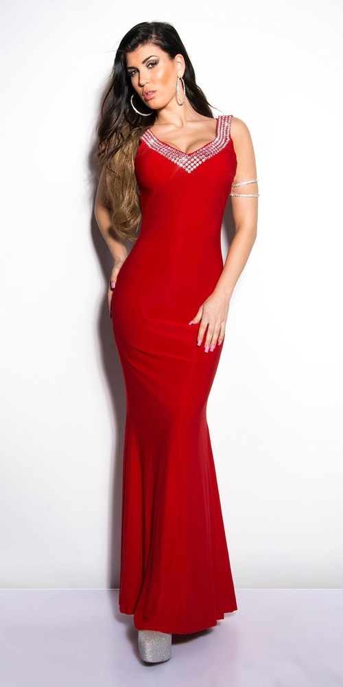 Červené plesové šaty - S Koucla in-sat1032re