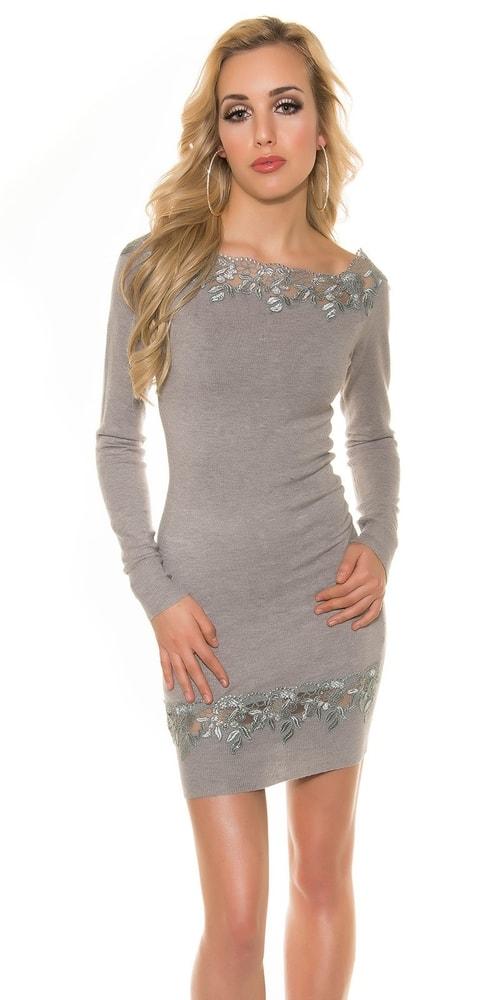 Elegantné úpletové šaty Koucla in-sat1217gr
