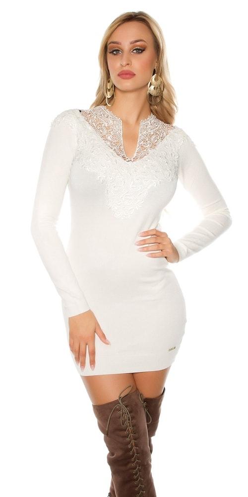 Biele úpletové šaty Koucla in-sat1185wh