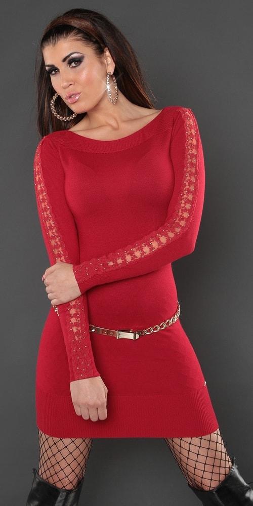 Červené úpletové mini šaty Koucla in-sat1167re