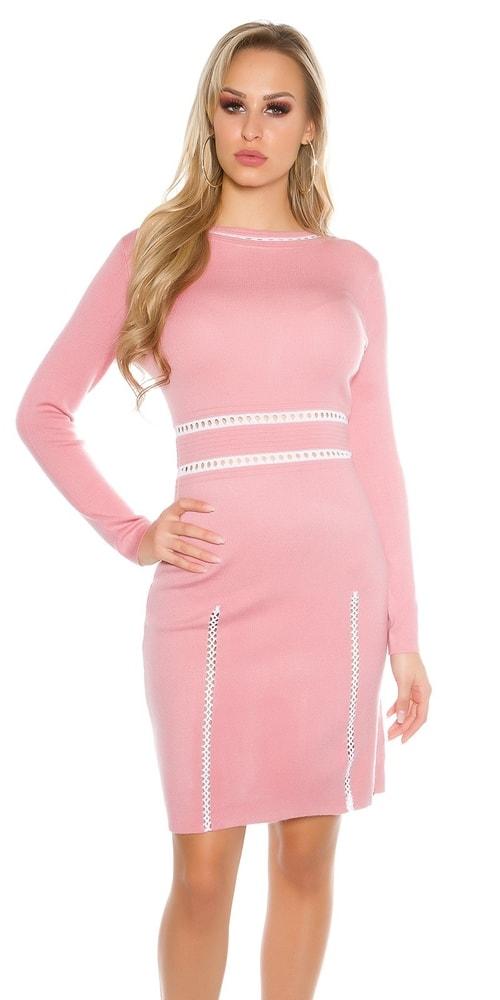 Dlhé úpletové šaty-ružové Koucla in-sat1410spi
