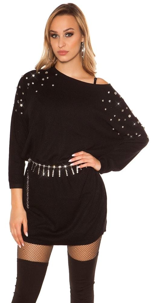 Černé úpletové šaty - Uni Koucla in-sat1955bl