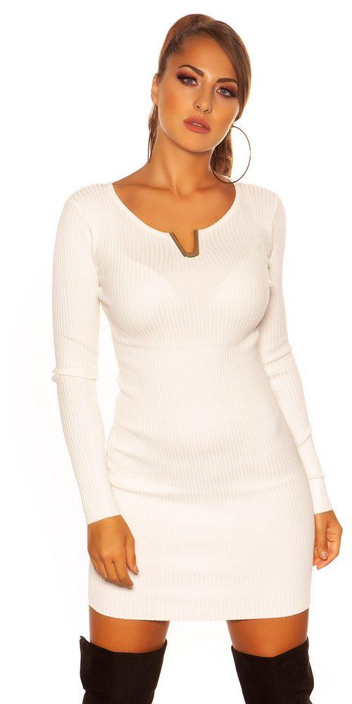 Úpletové mini šaty - S/M Koucla in-sat1388wh