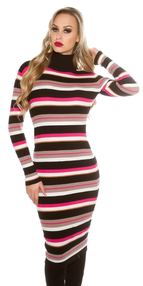 Pruhované úpletové šaty Koucla in-sat1428bl