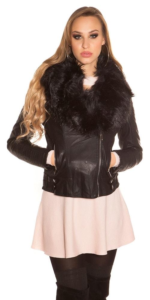 Koženková čierna bunda - XL Koucla in-bu1202bl