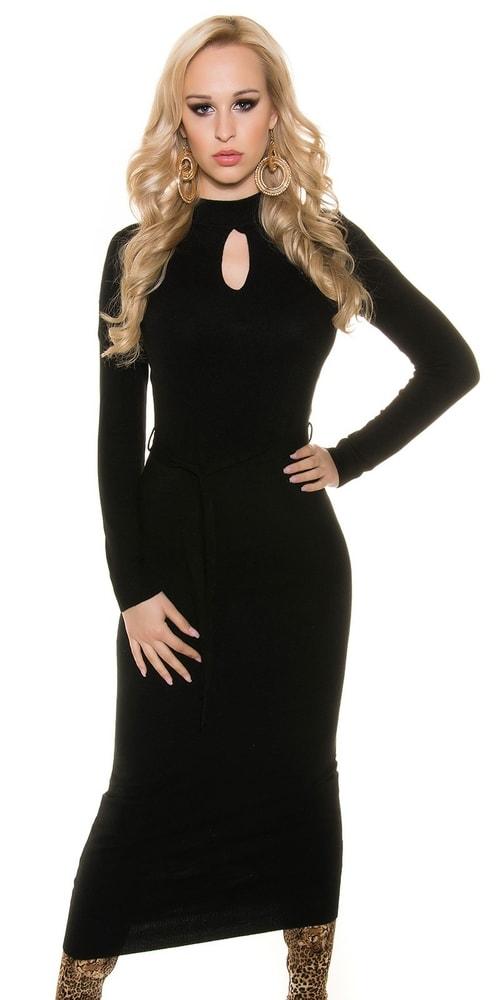 Čierne dlhé úpletové šaty Koucla in-sat1146bl