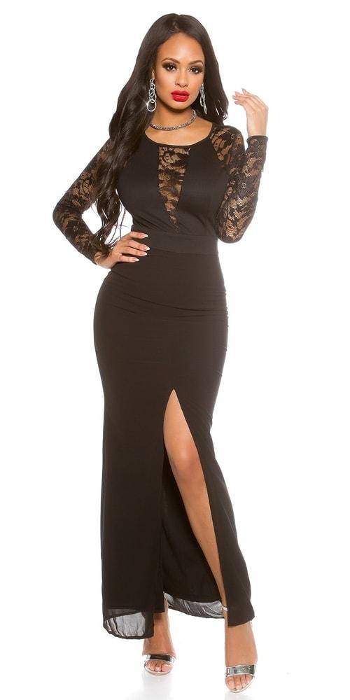 Dlhé čierne večerné šaty Koucla in-sat1421bl