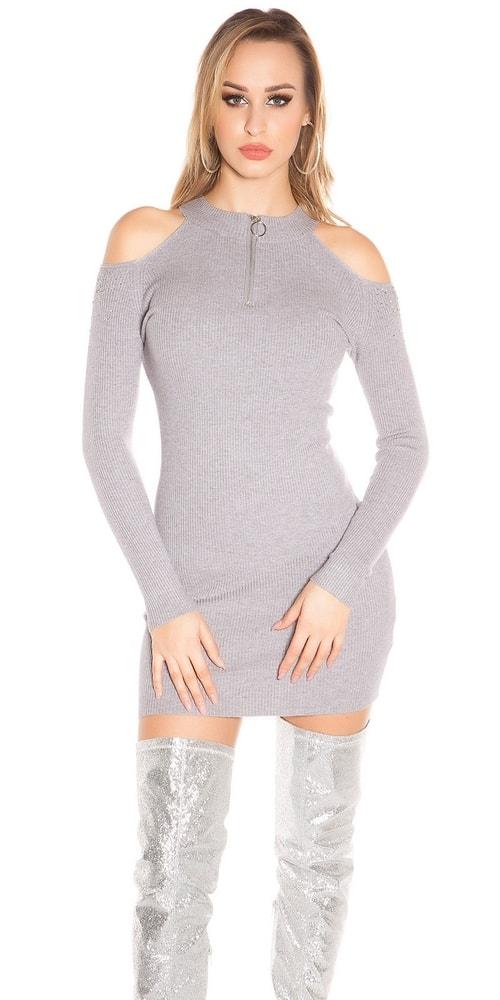 Úpletové mini šaty Koucla in-sat1592gr