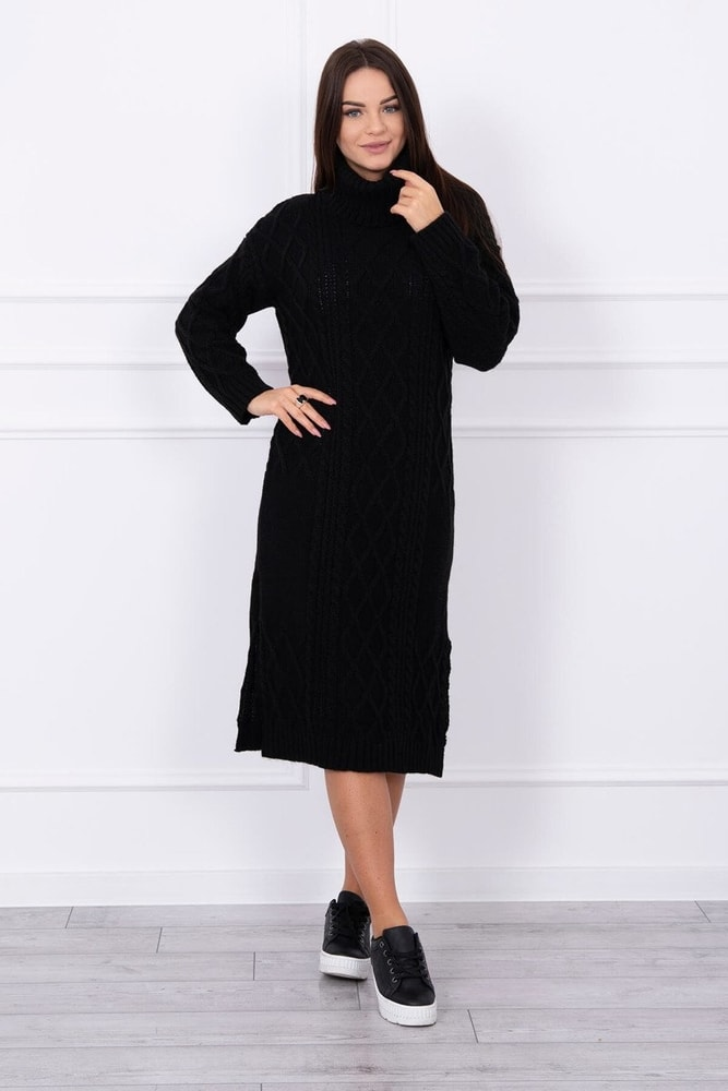 Čierne pletené šaty s rolákom Kesi ks-saS8481bl