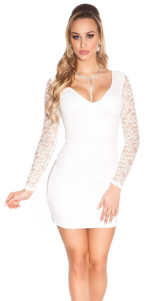 Biele čipkované šaty - 34 Koucla in-sat1277wh