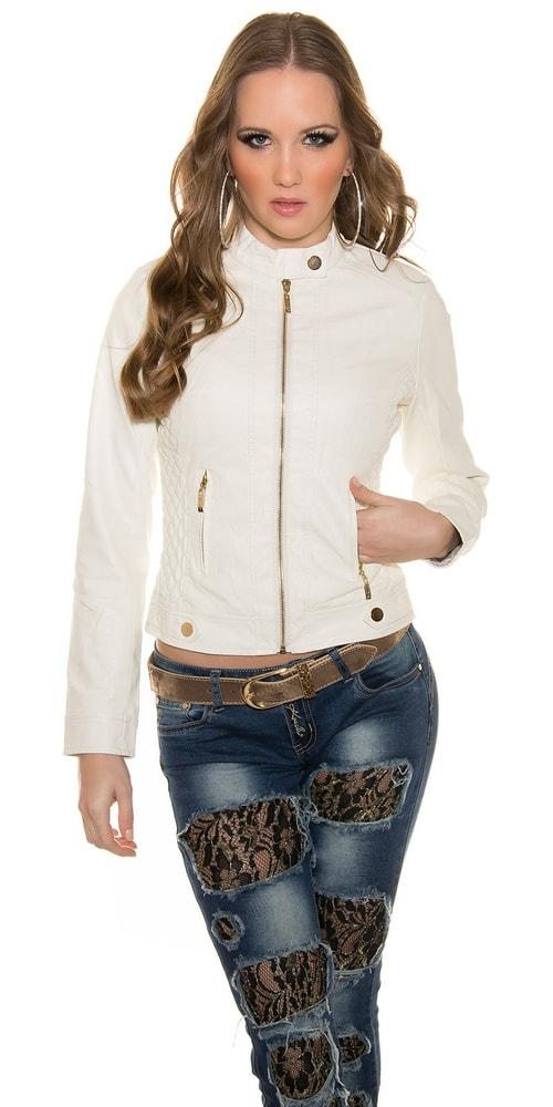 Biela koženková bunda Koucla in-bu1156wh
