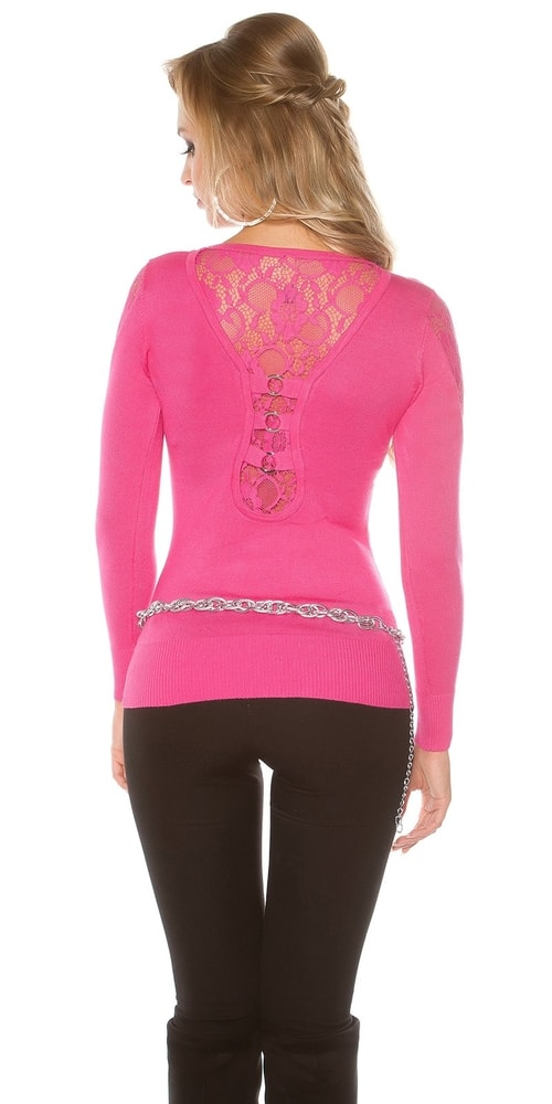 Dámsky sveter s čipkou - S/M Koucla in-sv1448pi
