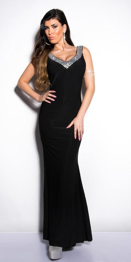 Čierne plesové šaty Koucla in-sat1032bl
