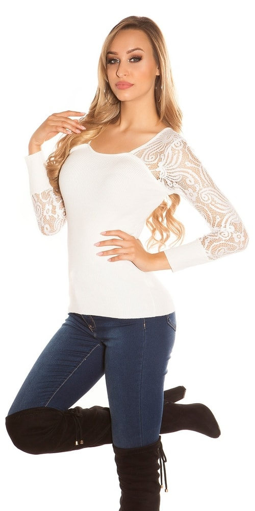Dámsky sveter s čipkou - S/M Koucla in-sv1044cr