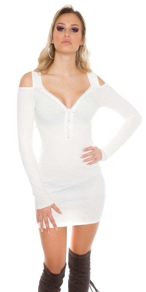 Dámske úpletové mini šaty Koucla in-sat1526wh
