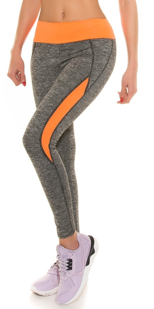 Farebné fitness leginy - oranžové Koucla in-leg1104or