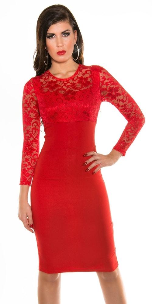 Červené dámske šaty - 38 Koucla in-sat1030re