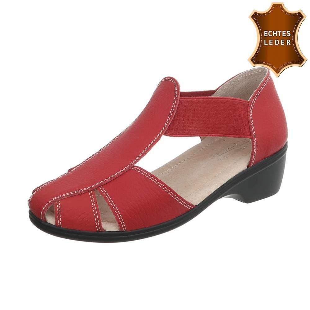 Kožené sandále červené - 39 EU shd-osa1224re