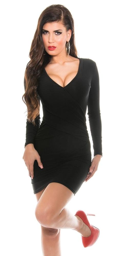 Čierne mini šaty - S/M Koucla in-sat1275bl
