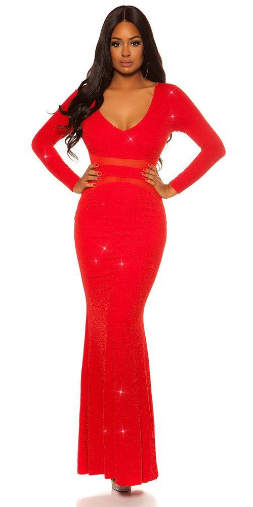 Dámske červené dlhé šaty - M Koucla in-sat2109re