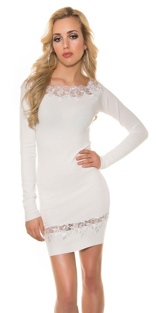Biele úpletové šaty Koucla in-sat1217wh