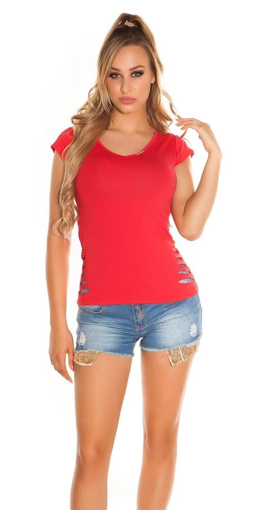Letní dívčí triko-červené Koucla in-tr1113re