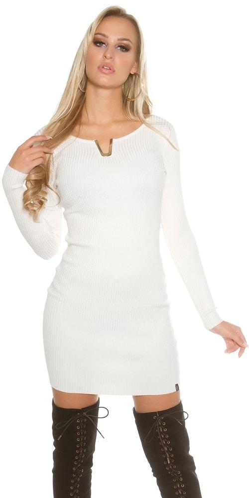 Úpletové mini šaty Koucla in-sat1388wh