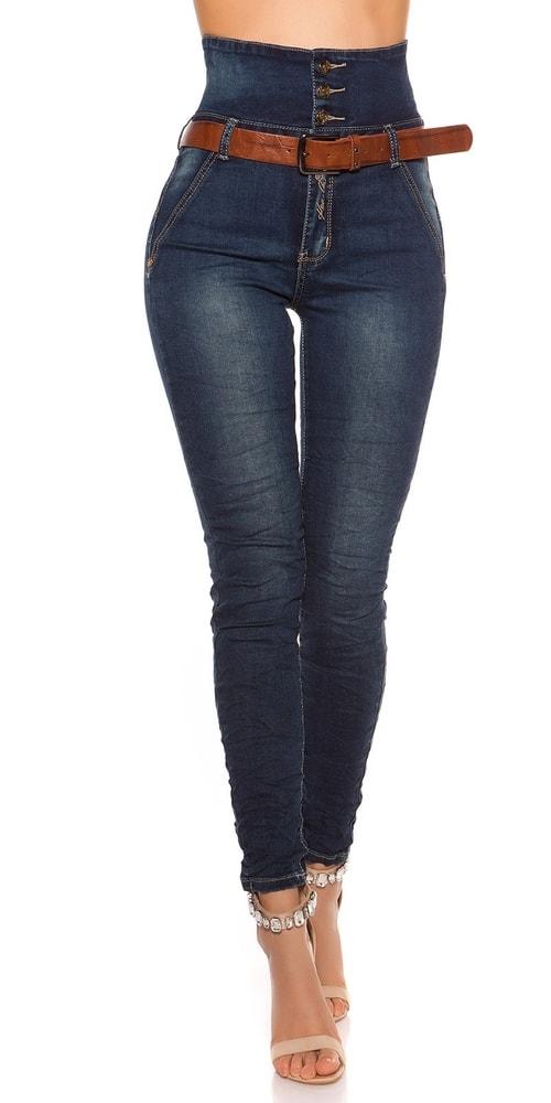 Úzke dámske džínsy s opaskom - 36 Koucla in-ri1032