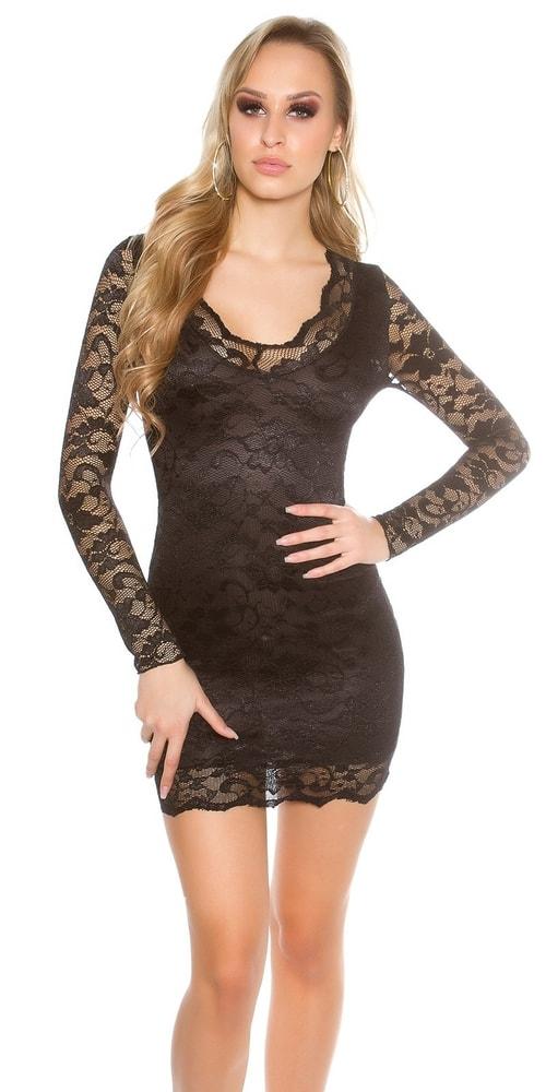 Čierne čipkované šaty - 36 Koucla in-sat1050bl