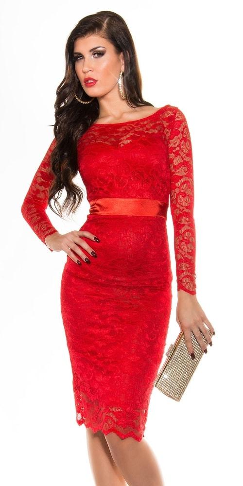 Červené šaty dámske - 36 Koucla in-sat1156re