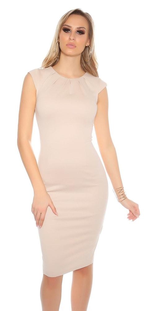 Béžové puzdrové šaty - 36 Koucla in-sat1231be