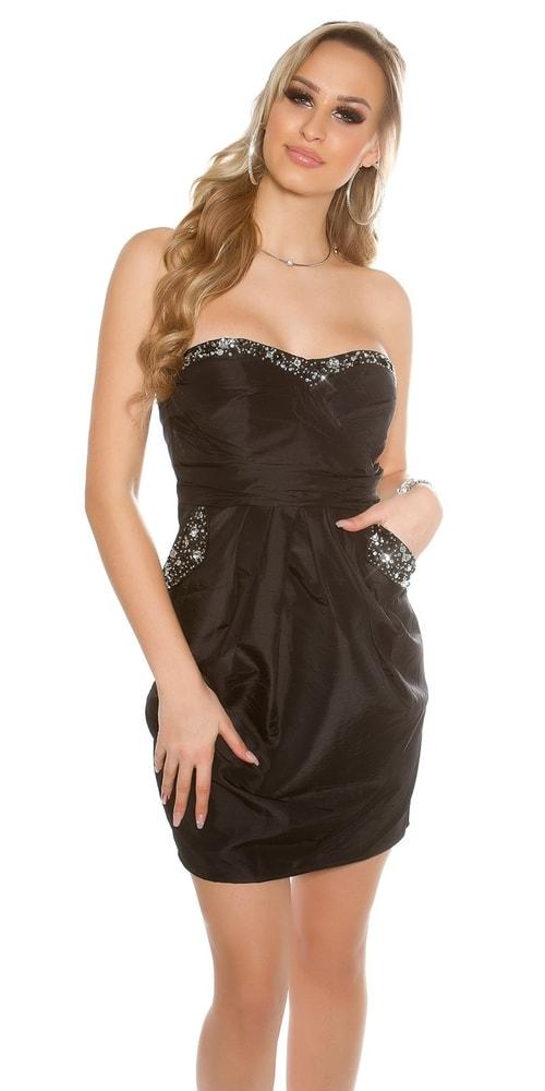 Čierne dámske lesklé šaty - 36 Koucla in-sat1430bl
