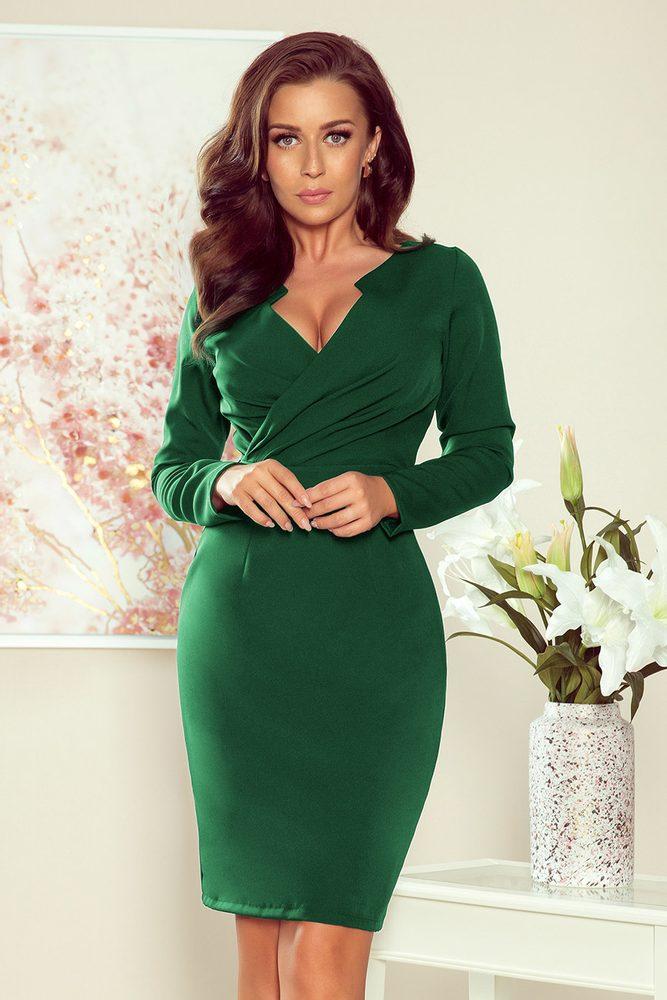 Elegantní zelené šaty - M Numoco nm-sat272-3