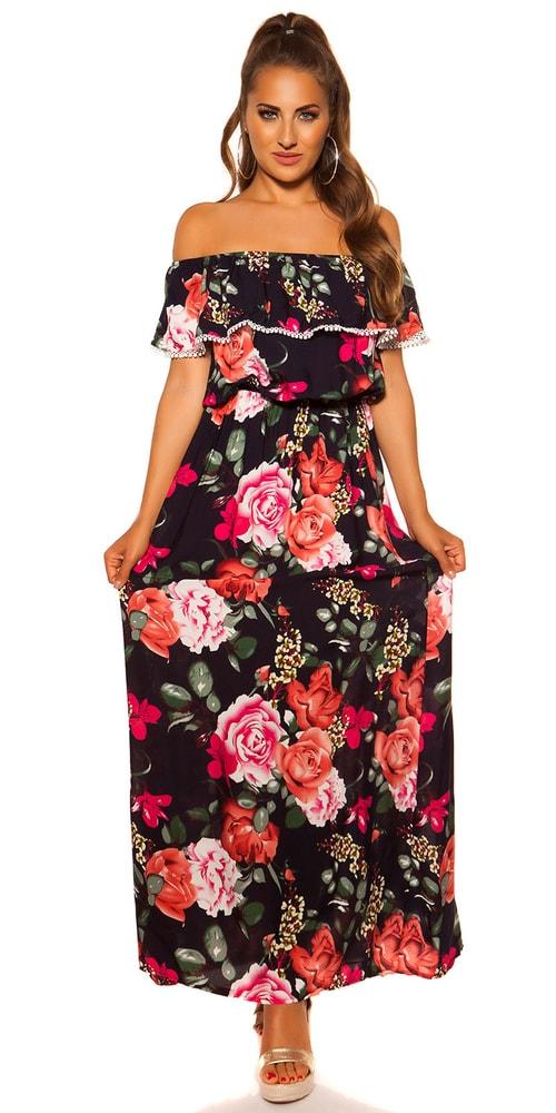 Dlhé kvetované šaty - S/M Koucla in-sat2035tm