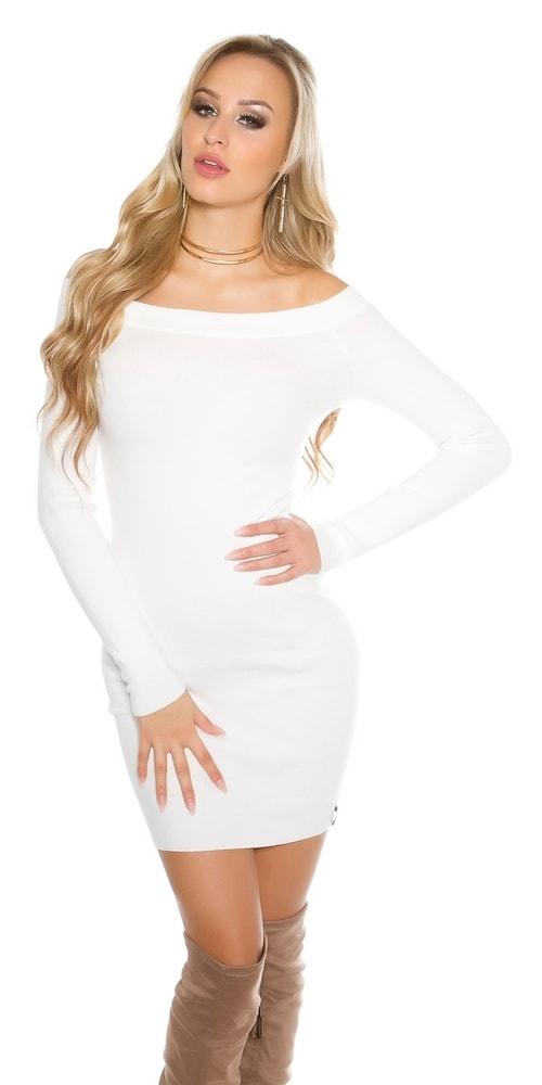 Úpletové elegantné šaty Koucla in-sat1528wh