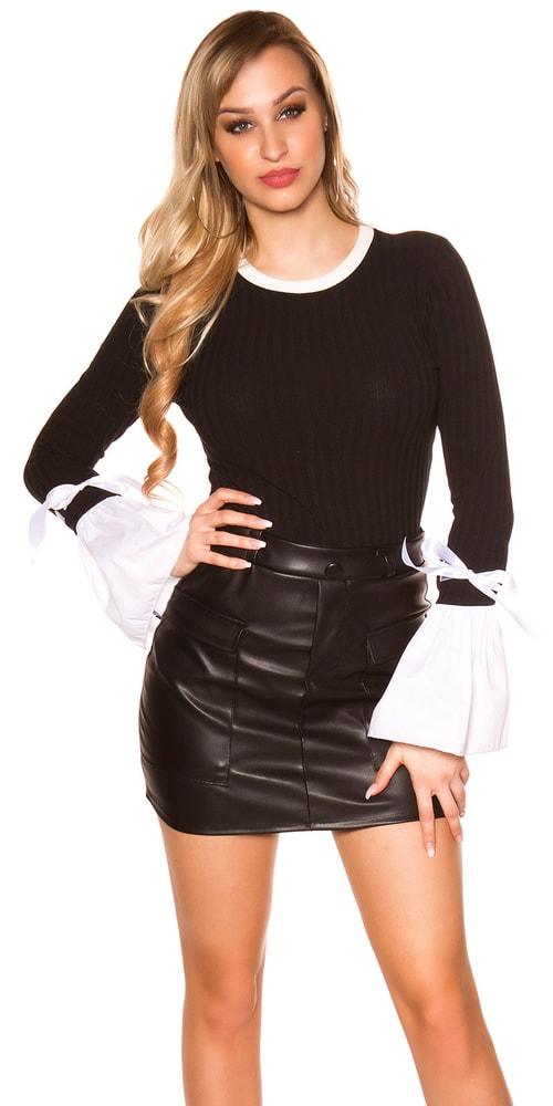 Čierne úpletové tričko Koucla in-tr1246bl